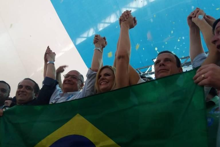 O candidato à Presidência Geraldo Alckmin (PSDB) ao lado de João Doria, candidato ao governo de São Paulo, durante campanha em São Bernardo do Campo, na região do ACB paulista
