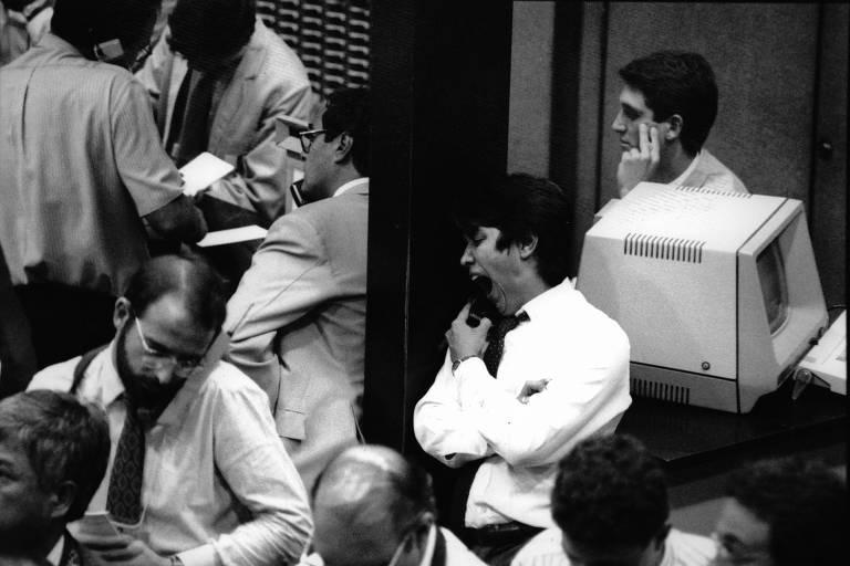 Pregão na Bolsa de Valores  (Bovespa) - 16.ago.1991/Folhapress