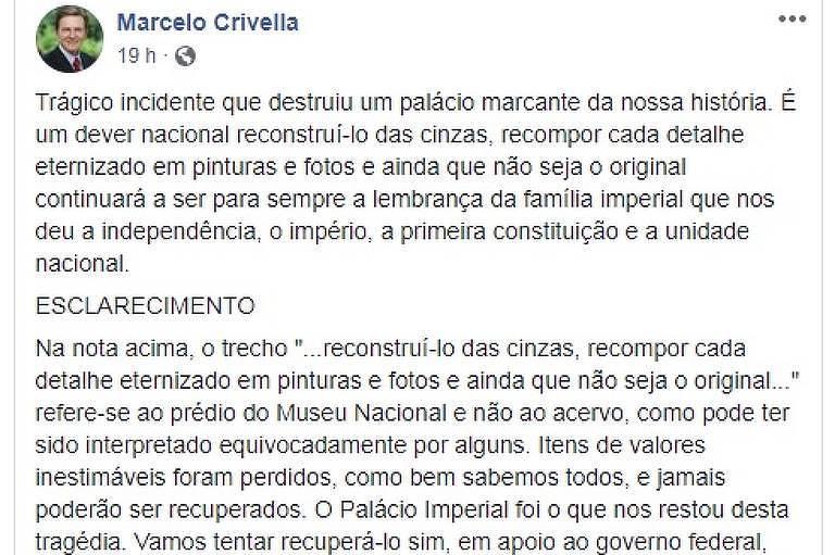 Prefeito do Rio recebeu críticas após publicar nota em rede social sobre incêndio de museu