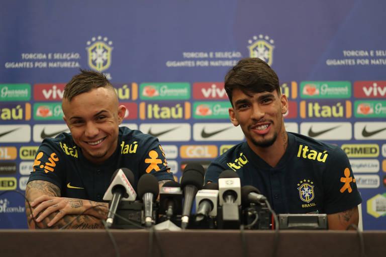Everton, do Grêmio e Lucas Paquetá, do Flamengo, durante entrevista em Nova Jersey