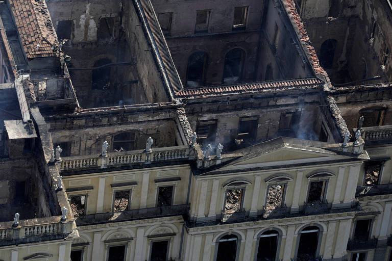 Aerial view of the National Museum in Rio de Janeiro after the Sunday fire