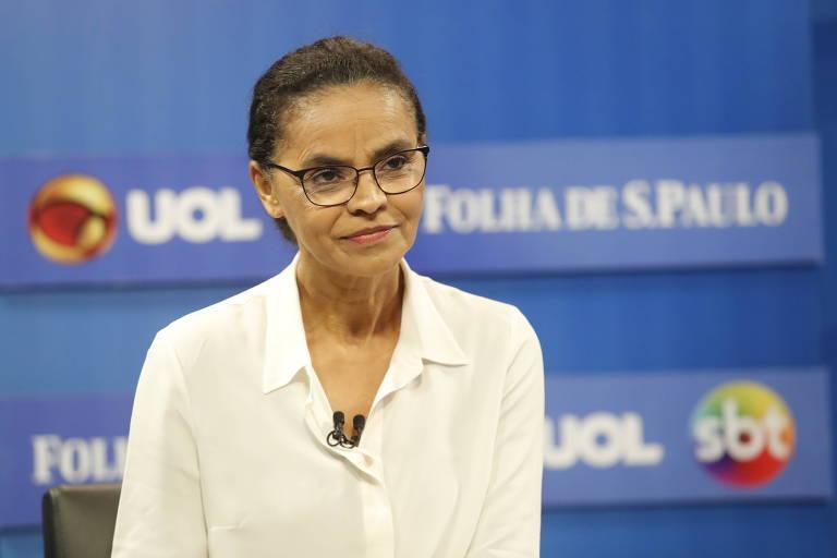 Marina Silva durante sabatina promovida por UOL, Folha e SBT, nos estúdios do UOL, em São Paulo