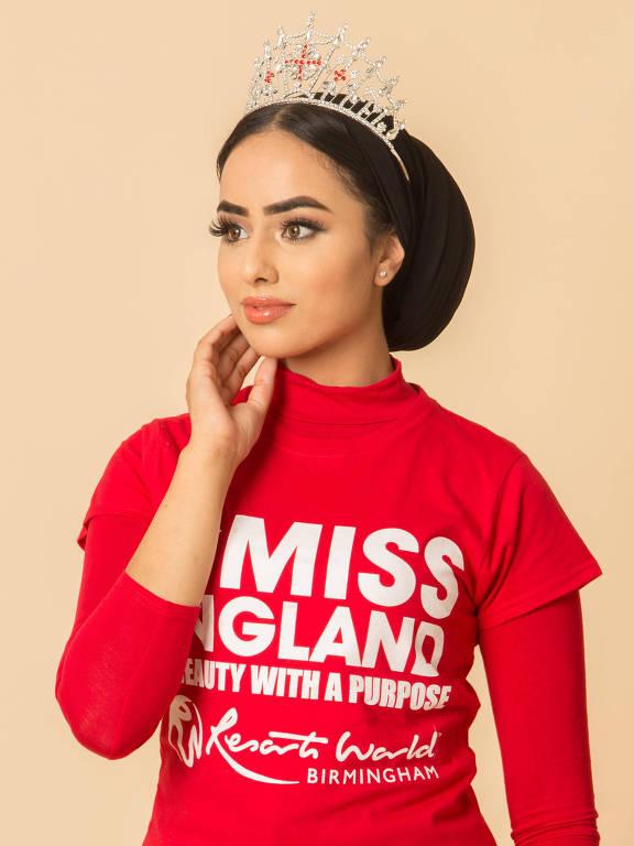 Sara Iftekhar, 20, é a primeira muçulmana a concorrer ao Miss Inglaterra