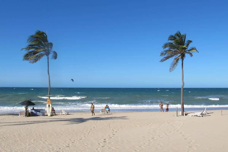A praia de Cumbuco, que fica a 35 quilômetros de Fortaleza