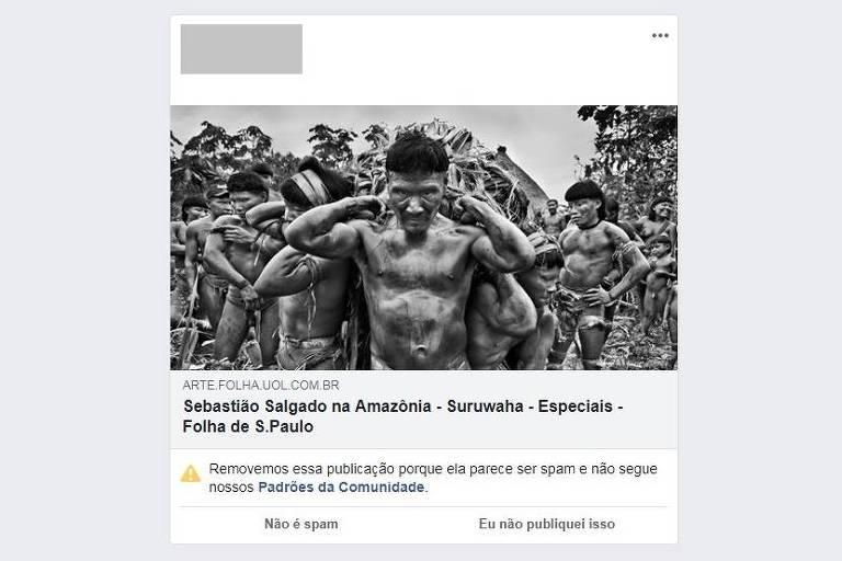 Imagem de post em rede social que inclui foto em preto e braco de índios