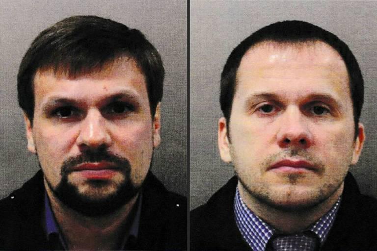 Montagem mostra os russos Ruslan Boshirov (esq.) e Alexander Petrov