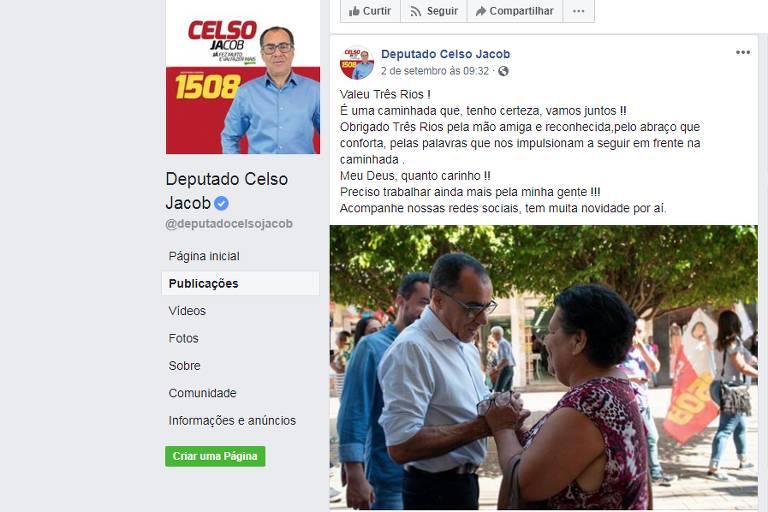 Deputado Celso Jacob (MDB-RJ) divulga fotos de campanha em rede social