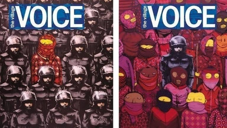 Os grafiteiros brasileiros Os Gêmeos e o inglês Banksy se uniram, em 2013, em uma ilustração para a capa da revista americana Village Voice