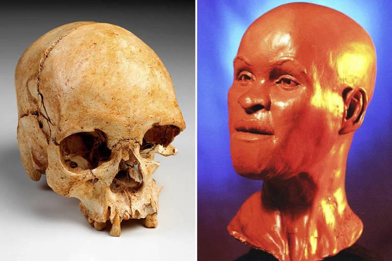 O crânio do fóssil Luzia e a imagem de sua face reconstituída