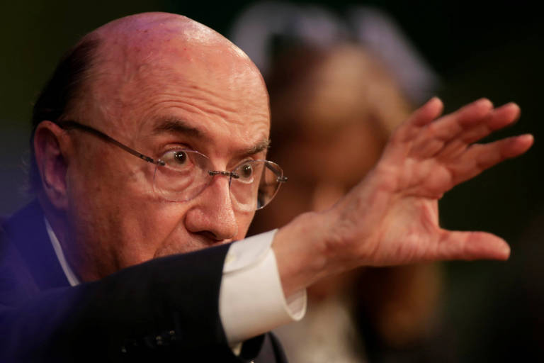Presidential candidate Henrique Meirelles of the Brazilian Democratic Movement (MDB) gestures during an event at National Agriculture Confederation in Brasilia