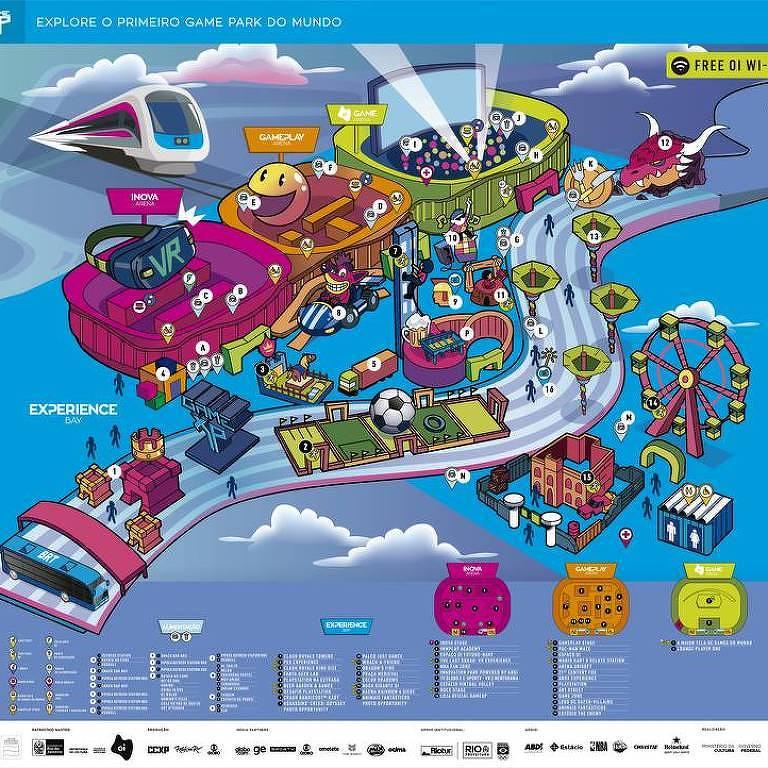 Mapa com as atrações do Game Park no Parque Olímpico do Rio