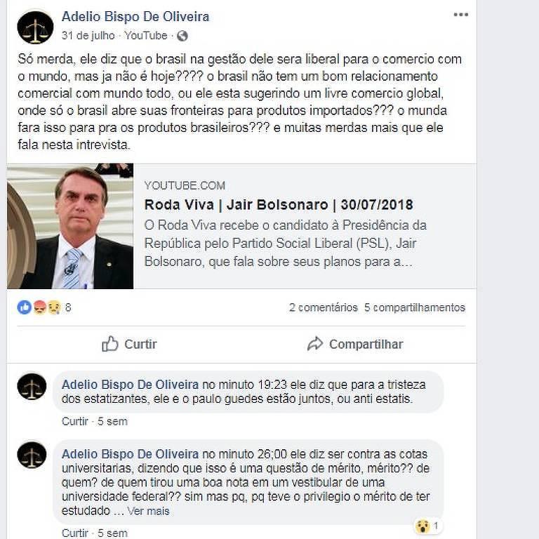 Suspeito de atentato a Jair Bolsonaro fazia posts com críticas ao candidato