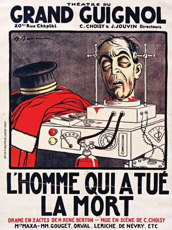 """Programa da peça """"L'Homme qui a Tué la Mort"""", do teatro Grand Guignol, com ilustração de Adrien Barrère"""