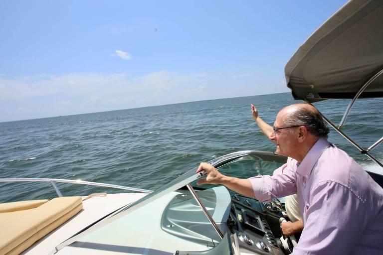 O presidenciável Geraldo Alckmin, em Alter do Chão (PA), em agosto