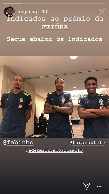 Neymar brinca com novatos da seleção Fabinho (esq.), Edér Militão e Tetê em seu perfil no Instagram