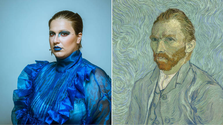 alice sobre fundo azul ao lado de autorretrato de van gogh sobre fundo azul