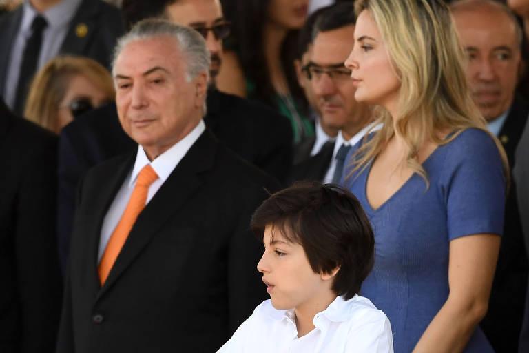 Presidente Michel Temer, a primeira-dama Marcela Temer e o filho Michel Temer Jr. durante desfile cívico na Esplanada dos Ministérios