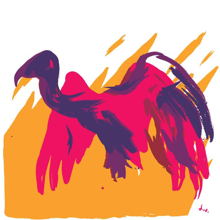 abutre rosa e azul