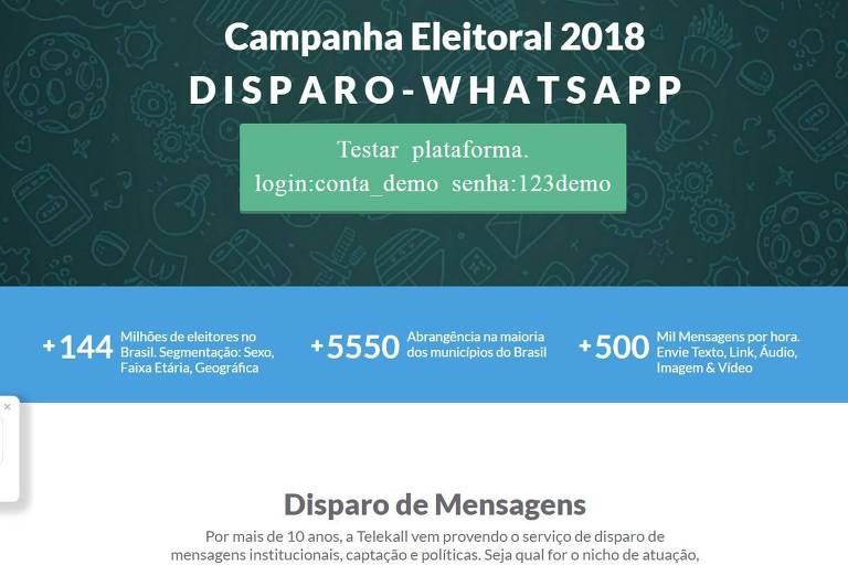 Página comercializa disparo em massa de mensagens no WhatsApp