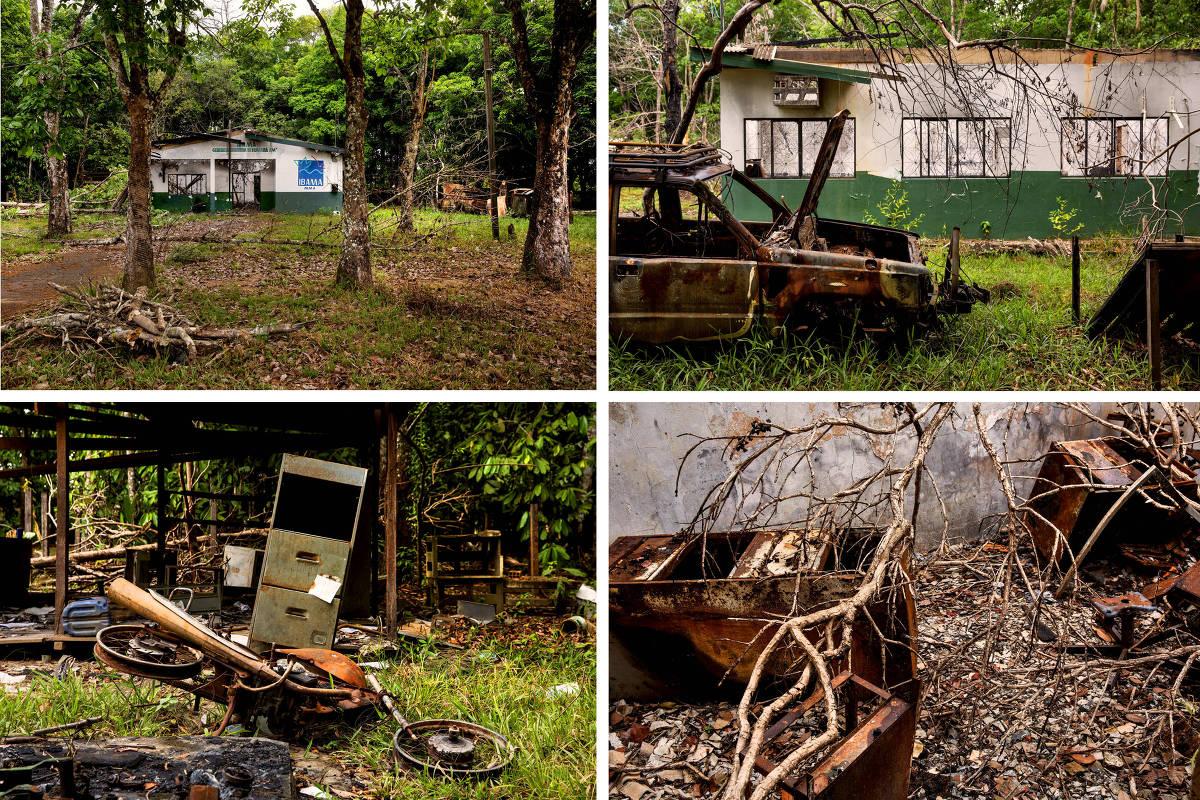 Montagem com imagens de escritório do Ibama em Humaitá que foi incendiada pela população