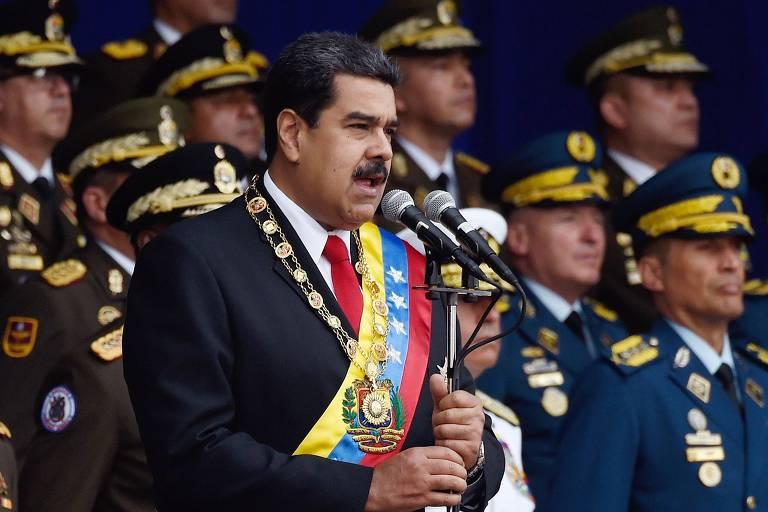 O ditador venezuelano Nicolás Maduro discursa durante evento em Caracas