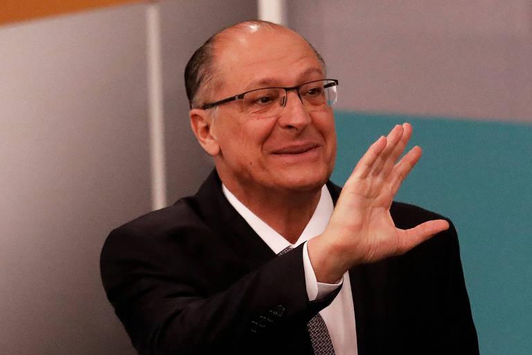 Presidential candidate Geraldo Alckmin of PSDB attends a television debate at the Gazeta TV studio in Sao Paulo