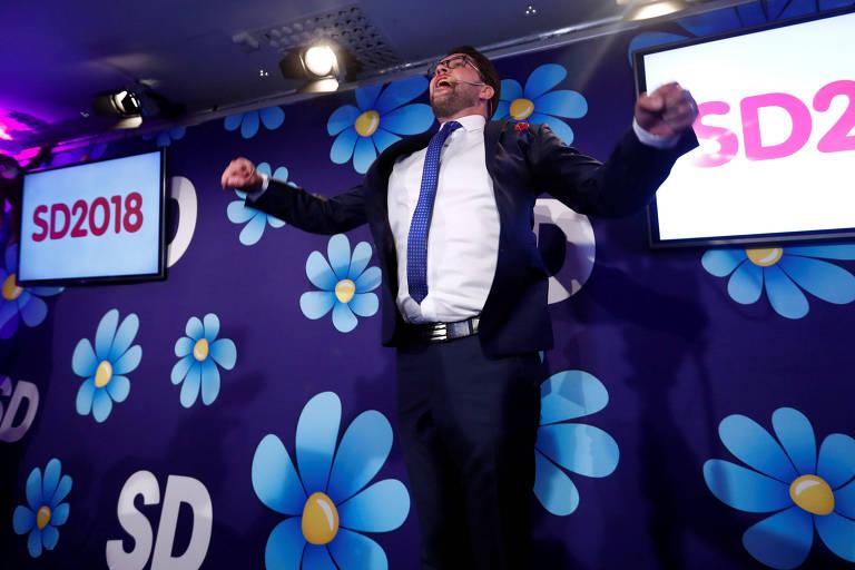 O líder dos Sweden Democratas da Suécia, Jimmie Akesson, durante a divulgação dos resultados