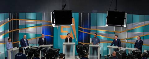 SÃO PAULO, SP, BRASIL, 09-09-2018: Presidenciaveis, durante debate dos candidatos a presidência da república, no estúdio da TV Gazeta, na avenida Paulista, em São Paulo. (Foto: Eduardo Anizelli/ Folhapress, PODER)