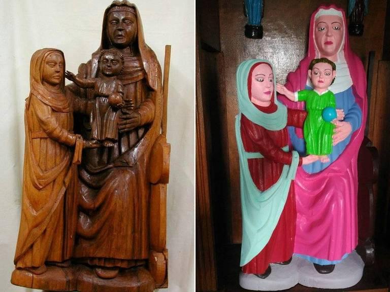 O antes e depois da restauração das esculturas centenárias