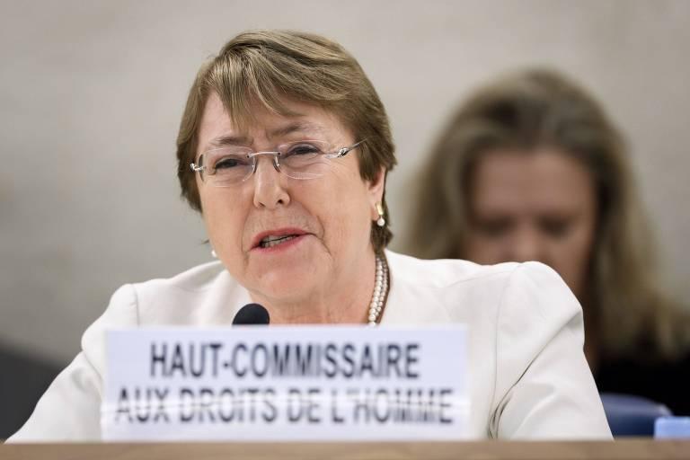 Michelle Bachelet em seu primeiro discurso como Alta Comissária de Direitos Humanos da ONU