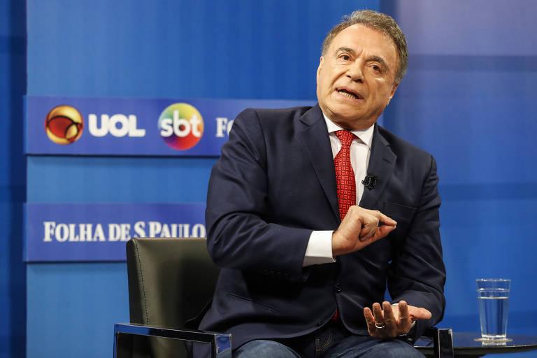 O candidato do Podemos à Presidência da República, Alvaro Dias, participa da sabatina Folha/UOL/SBT