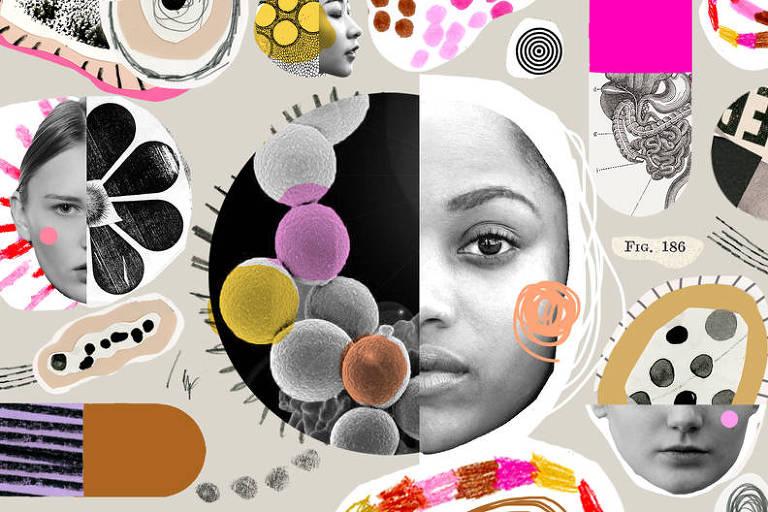 Montagem com rostos e com bactérias