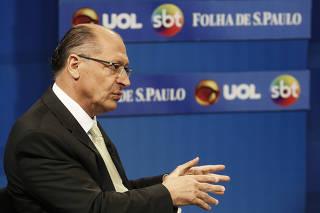 Geraldo Alckmin, participa de sabatina promovida por Folha, o UOL e o SBT