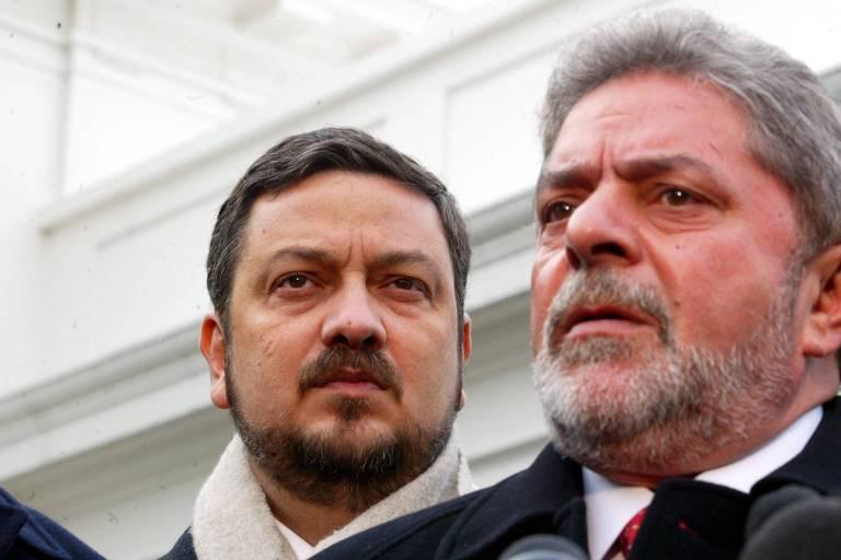 Antonio Palocci e Lula, durante entrevista em Washington, em 2002