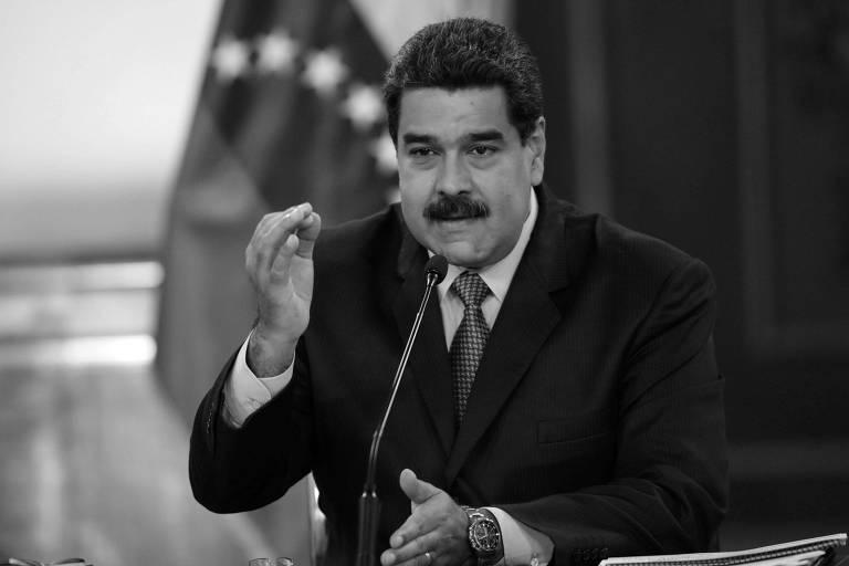 O ditador venezuelano, Nicolás Maduro, durante reunião com ministros em Caracas, em agosto deste ano