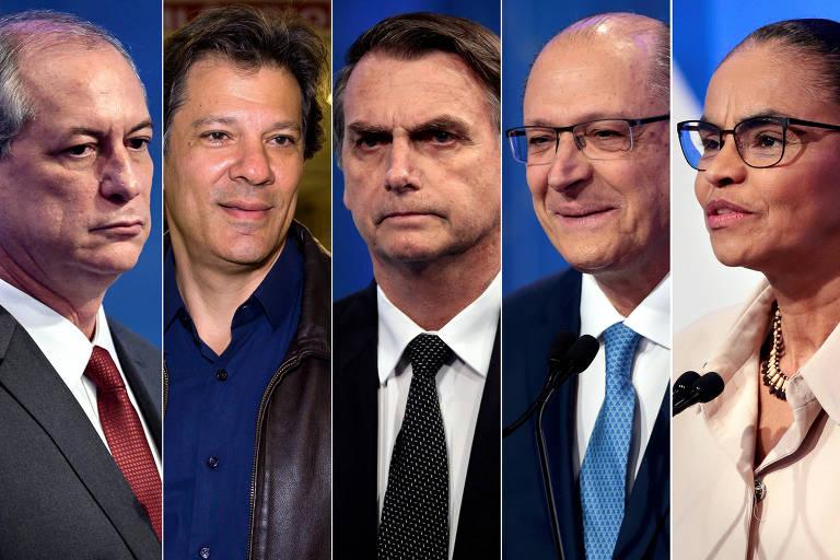Na montagem, da esq. para a dir., os presidenciáveis Ciro, Haddad, Bolsonaro, Alckmin e Marina