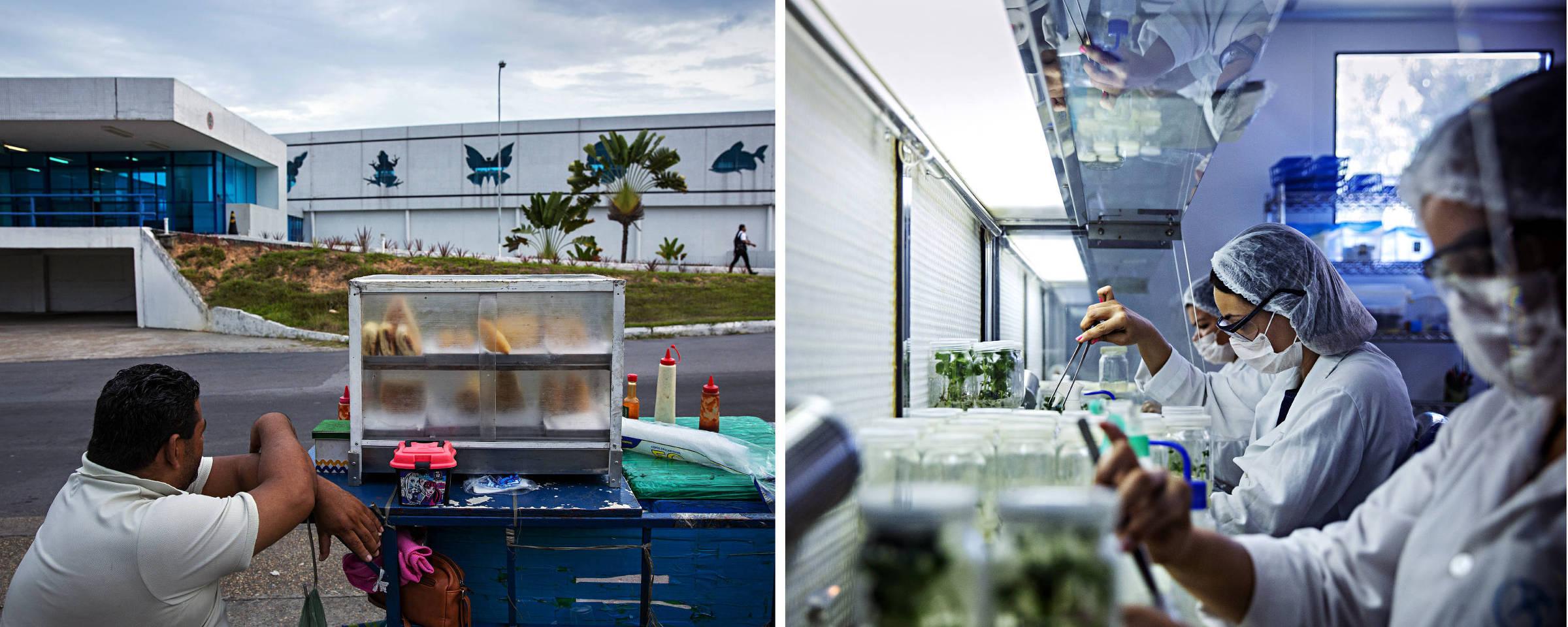 Montagem mostra vendedor em frente ao Centro de Biotecnologia da Amazônia, em Manaus, que tem parte de suas instalações ociosas, e um dos laboratórios do local