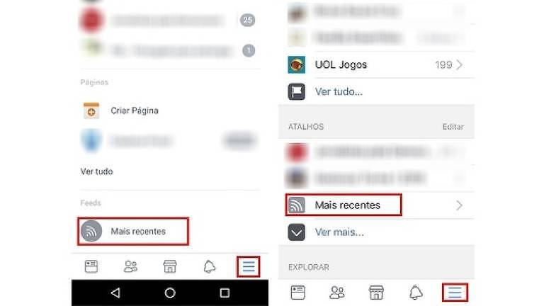 Mais Recentes no Android (esq.) e no iPhone (dir.)