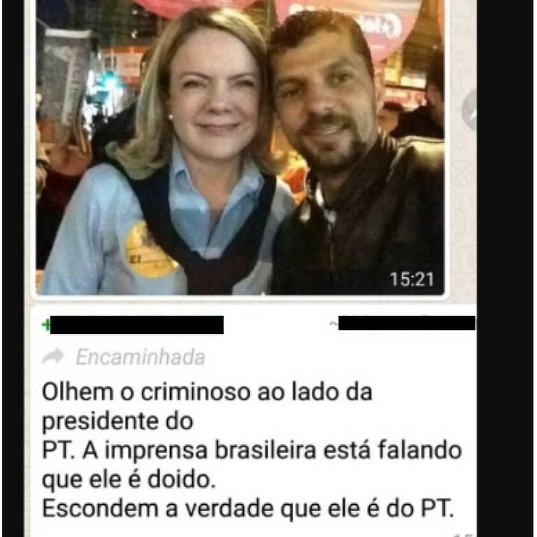 Comprova: Homem em foto com Gleisi Hoffmann não é o agressor de Bolsonaro
