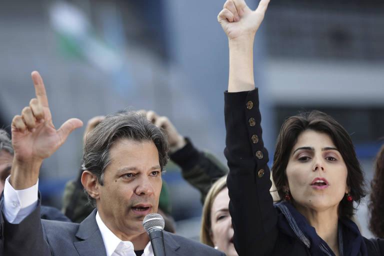 Candidatos à Presidência e vice pela chapa do PT, respectivamente, Fernando Haddad e Manuela d'Avila