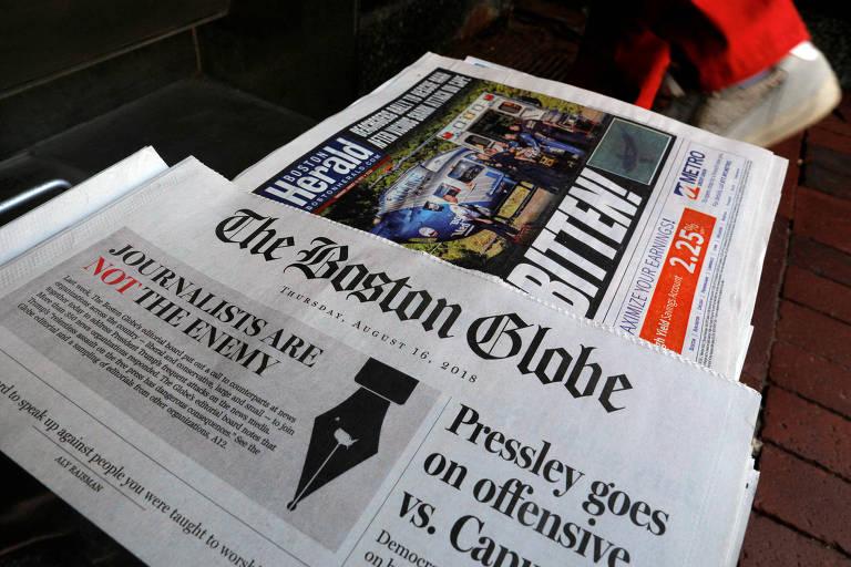 Edição do jornal The Boston Globe com editorial em defesa da liberdade de imprensa, em 16 de agosto