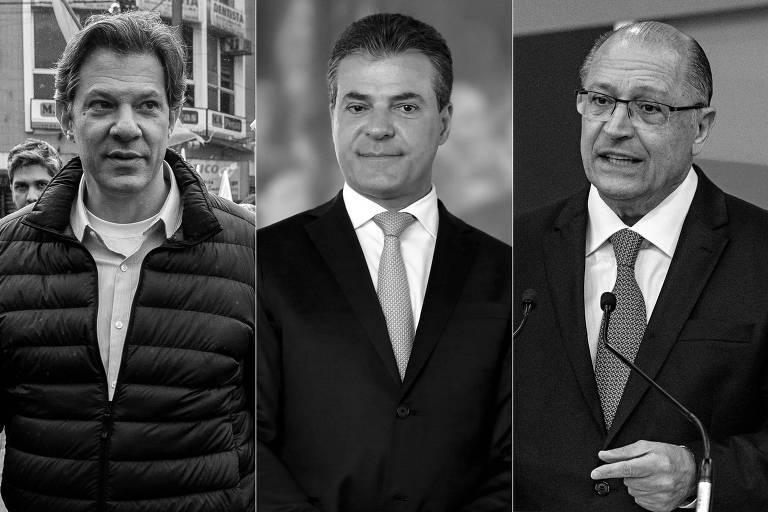 Da esq. para a dir., o candidato do PT à Presidência, Fernando Haddad, o ex-governador Beto Richa, candidato ao Senado pelo PSDB, e o candidato do PSDB à Presidência, Geraldo Alckmin