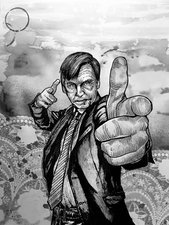 desenho de bolsonaro apontando dedo
