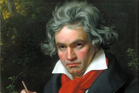 Música Erudita: o compositor alemão Ludwig van Beethoven. (1770-1827).  *** Stieler, Joseph Karl: Beethoven mit der Missa solemnis Ã?lgemälde, 1819 musica da surdez Beethoven (Foto: Reprodução) *** DIREITOS RESERVADOS. NÃO PUBLICAR SEM AUTORIZAÇÃO DO DETENTOR DOS DIREITOS AUTORAIS E DE IMAGEM ***