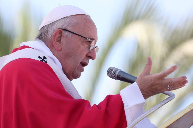O papa Francisco, durante missa realizada em Palermo, na Itália