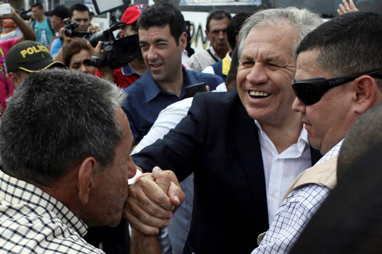 O secretário-geral da OEA, Luis Almagro, durante visita a Cúcuta, na Colômbia