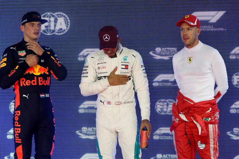 Max Verstappen ficou em segundo, com Lewis Hamilton pole position e Sebastian Vettel em terceiro