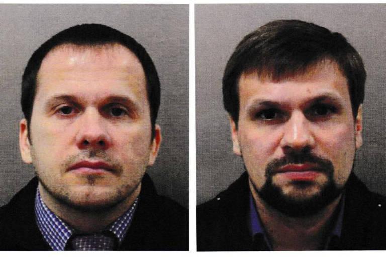 Montagem mostra os russos Ruslan Boshirov (esq.) e Alexander Petrov, que são procurados pela polícia britânica pelo caso do espião russo envenenado na Inglaterra