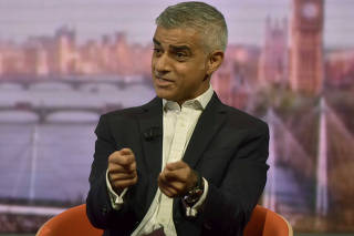 The Mayor of London, Sadiq Khan, appears on the BBC's Andrew Marr Show, in London