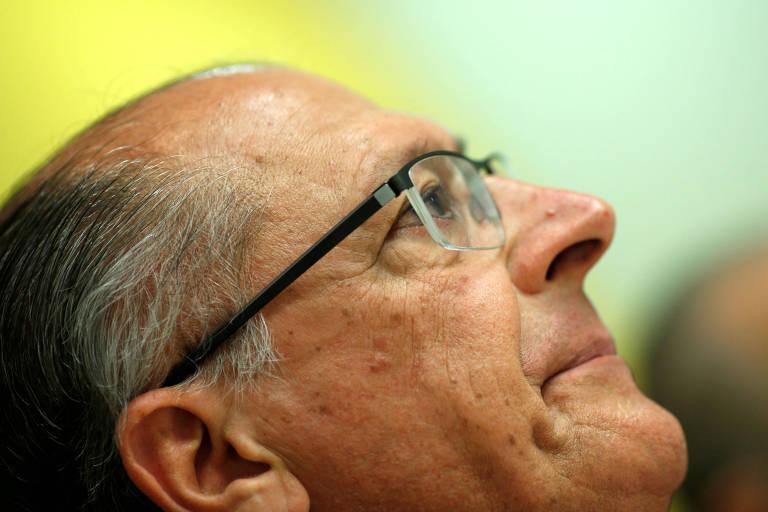 O presidenciável Geraldo Alckmin (PSDB) durante entrevista para veículos de mídia internacionais em Brasília